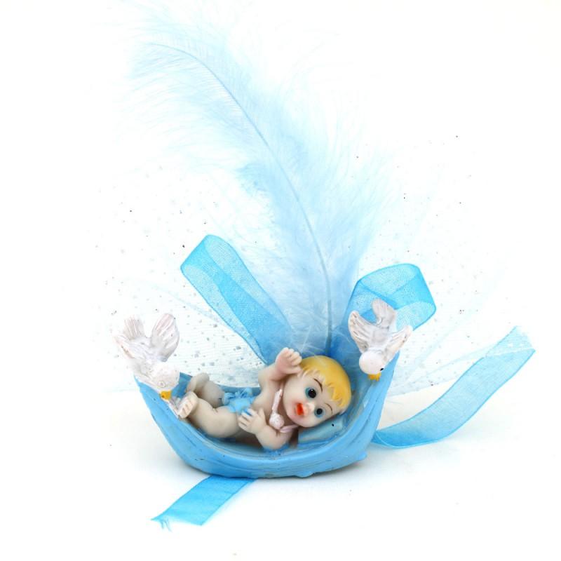 Mavi Kuşlu Sandalda Bebek